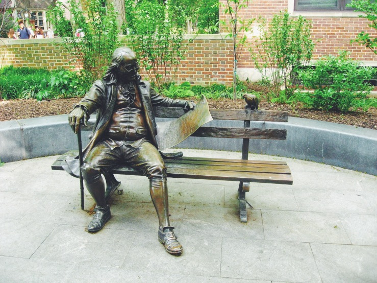 Ben Franklin on a park bench in Philly.
