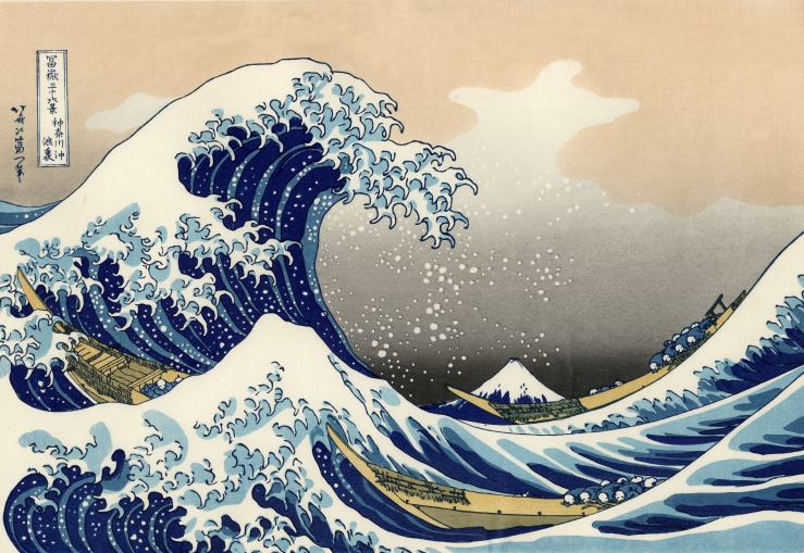 The Great Wave off Kanagawa, Hokusai  1830-33