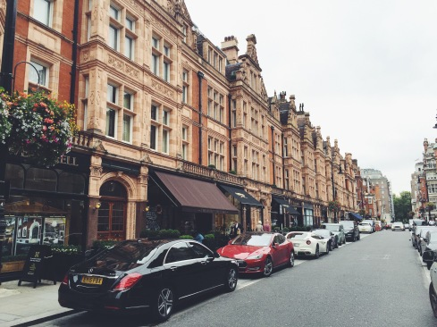 Mayfair, where Lambos and Mercedes have staring contests in the street.