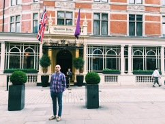 Tom in front of the Connaught, where I will return one day for high tea.