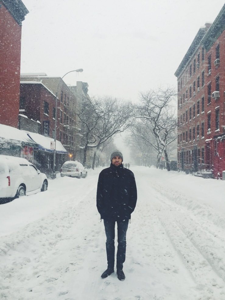 Tom standing on snowy 49th St.