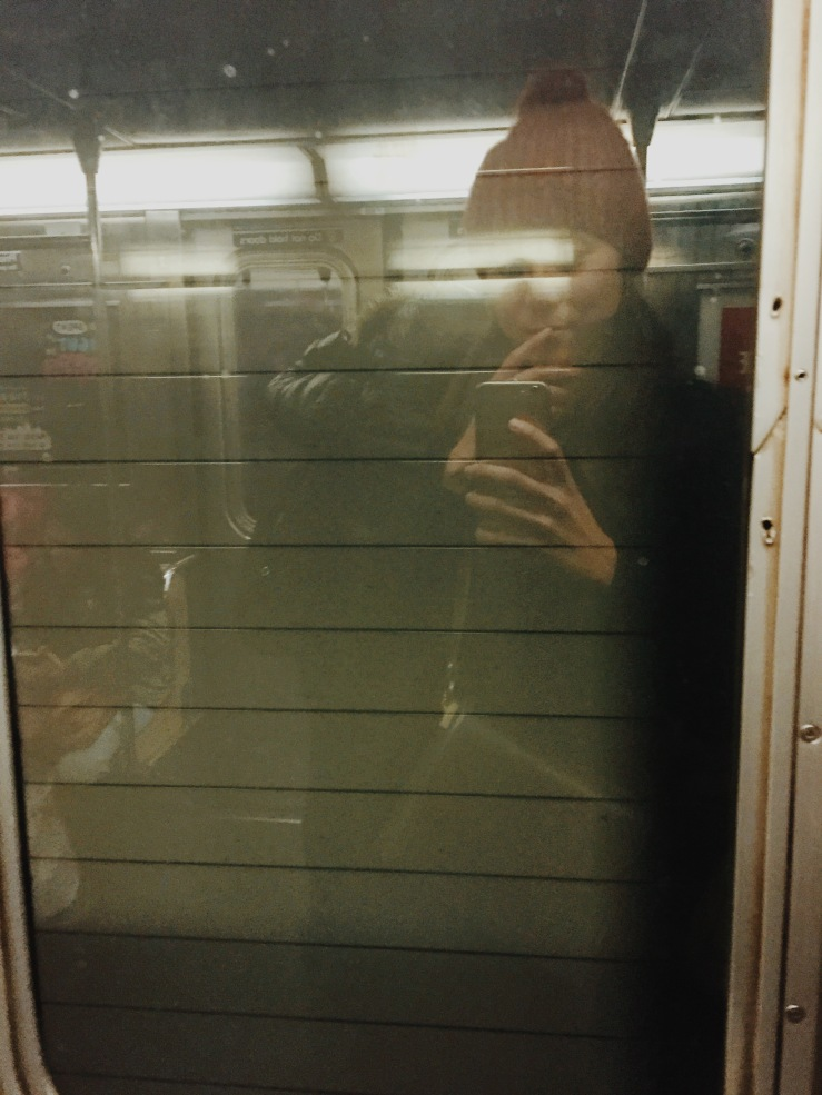 Subway rider in winter